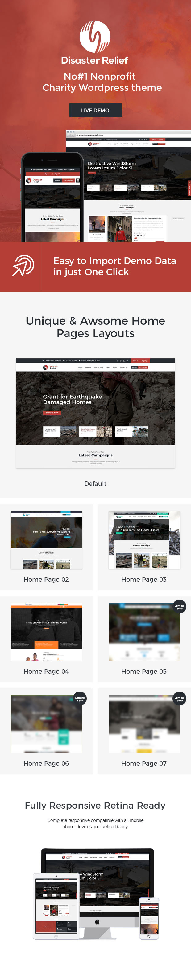 Disaster relief Wordpress Theme Features
