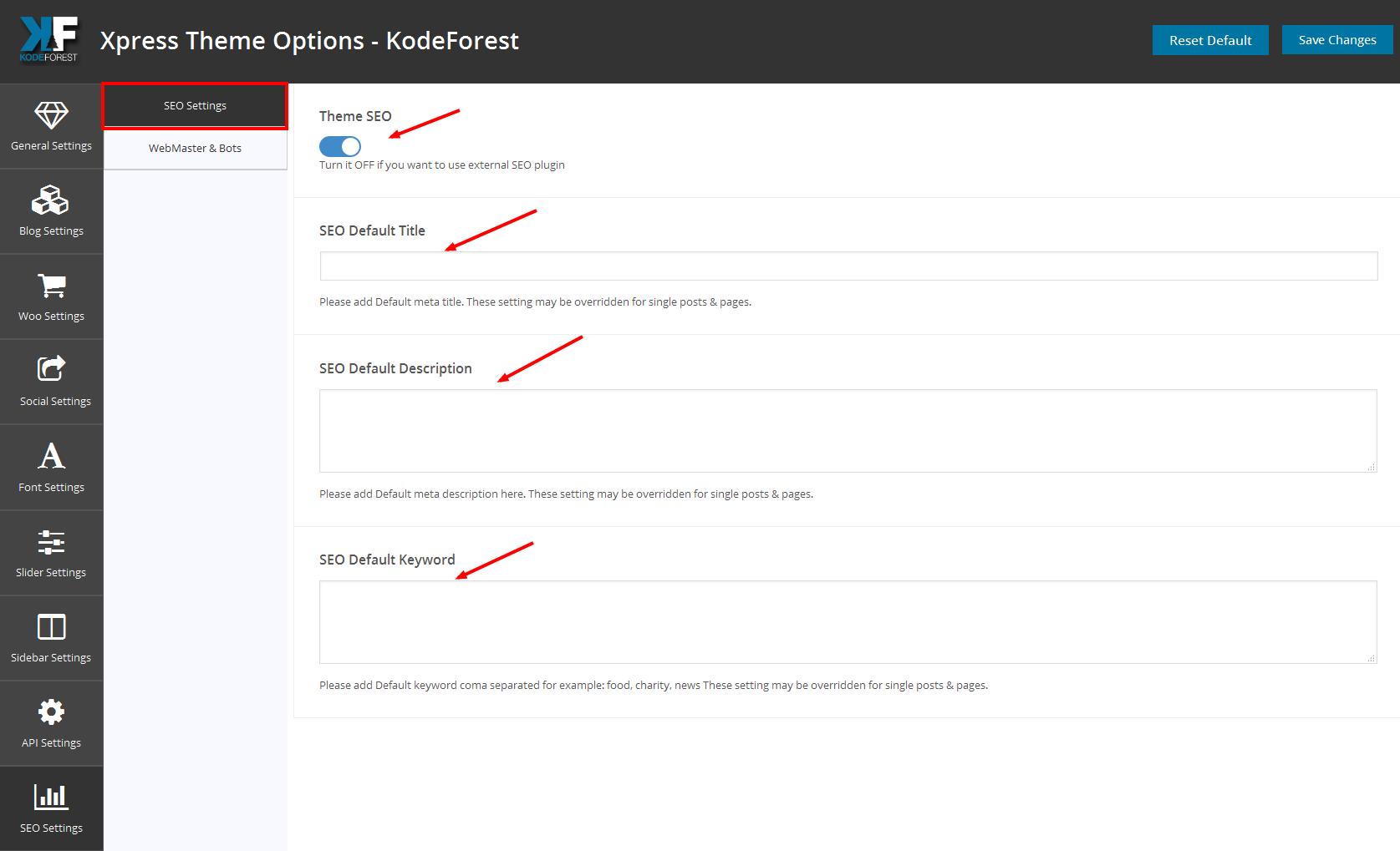 seo settings